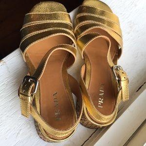 Prada Shoes - Vintage gold Prada sandals